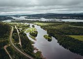 Landscape View From The Air Of River Separating Finland And Sweden And The Bridge Connecting The Two poster