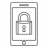 Secured Smartphone Icon. Outline Illustration Of Secured Smartphone Vector Icon For Web Design Isola poster
