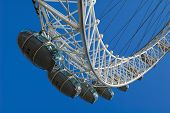 London Eye capsules with a clear blue sky background