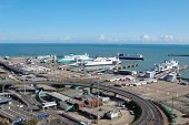 The Port of Dover with several ferries in sight