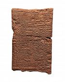 Clay tablet with cuneiform writing of the ancient Sumerian  or Assyrian civilization isolated on whi