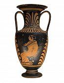 Antiguo jarrón griego aislado en blanco