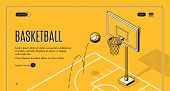 Basketball Team, Sport Club Black Line Art, Isometric Vector Web Banner, Web Site Template With Ball poster