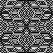 Seamless black and white 3D cubes illustration - Escher style