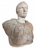 Ancient statue of the first roman emperor Augustus isolated on a white background with clipping path