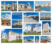 Collage with landmarks and typical architecture of Havana