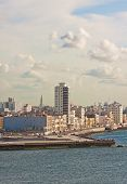 Vertical view of the skyline of Havana with El Malecon, a famous promenade running along the coast t