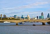 London landmarks and Waterloo Bridge over the Thames