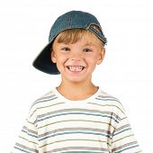 Portrait of emotionally kid. Funny little boy isolated on white background. Beautiful caucasian mode