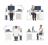 Bearded Man Working On Computer At Workplace. Male Clerk Or Manager Sitting At Office Desk. Flat Car poster