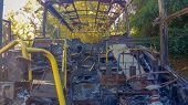 Abandoned Burnt Bus In The Forest, After Fire. poster