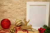 Christmas Red Glass Balls And Balls With White And Golden Pearls, Red Beads, Sparkle Golden Deer And poster