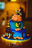 Hallowhalloween Cake. Festive Sweetness. Blue Cake With Figures Of Pumpkins And Witcheseen Cake. Fes poster