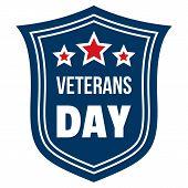 Emblem Veterans Day Logo. Flat Illustration Of Emblem Veterans Day Logo For Web Design poster