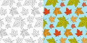 Autumn Maple Leaf Seamless Pattern. Fall Leaves Texture. Seasonal Template With Leaf Pattern. Colorf poster