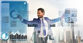 Financial Statistics Digital Technology. Digital Business Concept. Touch Digital Surface. Businessma poster