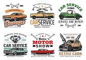 Car Repair Service, Retro Motor Show And Auto Mechanic Garage Icons Of Vintage Vehicle With Wrench,  poster