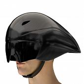Athlete Head With Time Trial Bicycle Carbon Helmet And Goggles. Perspective View. Equipment Of Road  poster