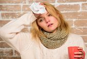 Tips How To Get Rid Of Cold. Woman Feels Badly Ill Sneezing. Girl In Scarf Hold Tea Mug And Tissue.  poster