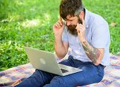 Inspiration For Blogging. Looking For Inspiration. Man Bearded With Laptop Sit Meadow Nature Backgro poster