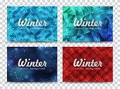 Winter Backgrounds Set. Winter Frame With Snowflakes. Christmas Greeting Card. New Year Background W poster
