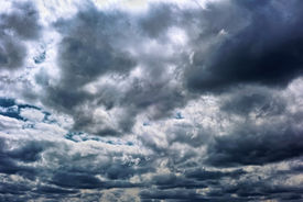 stock photo of hurricane wind  - Powerful storm clouds - JPG