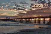 Summer sunset in Oceanside, California Pier. Oceanside is approximately 40 miles North of San Diego,