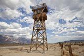 Historic Guard Tower at Manzanar US National Historic Park in California.
