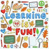 Learning is Fun Back to School Classroom Supplies Notebook Doodles Hand-Drawn Illustration Design El