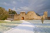 Irish ruins of the castle of Adare in winter scenery