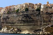 Bonifacio ancient city on limestone cliff, Corsica island, France