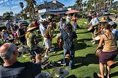 CARLSBAD, CALIFORNIA - SEPTEMBER 2: Many drummers gather for a joyous rhythmic drumming celebration