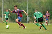 KAPOSVAR, HUNGARY - SEPTEMBER 1: Konrad Kiss (16) in action at the Hungarian National Championship u