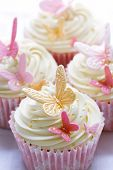 picture of sugarpaste  - Cupcakes decorated with pink and gold fondant butterflies - JPG