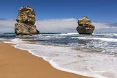 The Twelve Apostles, Victoria, Australia, near sunset. Two of the rock stacks, viewed from the beach