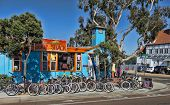 CARLSBAD, CALIFORNIA - SEPTEMBER 2: The Surf Shack with bikes and boards on September 2, 2012 in Car