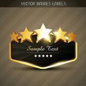 stock photo of prize winner  - beautiful shiny golden label with space for your text - JPG