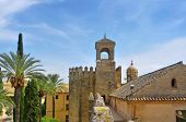 Tower of Homage and North wall of Alcazar de los Reyes Cristianos in Cordoba, Spain