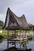 foto of minangkabau  - House on the water Samosir island lake Toba - JPG
