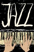 Playing the jazz piano. Hand drawn. Jpeg version.