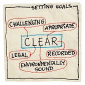 CLEAR ( challenging, legal, environmentally sound, appropriate, recorded) goal setting concept - a n