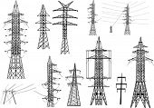 illustration with electrical pylons isolated on white background
