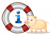 illustration of a pig and lifesaver floating on a white background