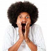 Shocked afro man - isolated over a white background