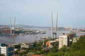 Suspended cable bridge in Vladivostok over the Zolotoy Rog (Golden Horn) bay, Russia.