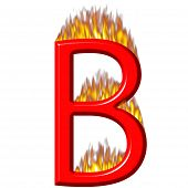 3D Letter B On Fire