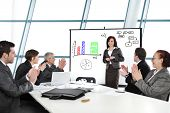 Business woman having successful presentation