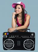 Dance Instructor With Large Boom Box