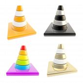 Set Of Four Road Cones Isolated On White