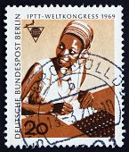 Postage stamp Germany 1969 African Telephone Operator